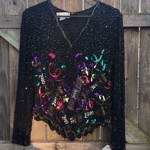 Vintage | beaded silk y2k top